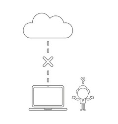 businessman character with cloud and laptop and vector image