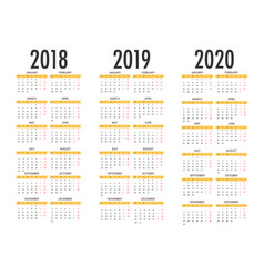Calendar for 2018 2019 2020 simple template vector