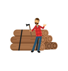cartoon flat bearded lumberjack standing near pile vector image