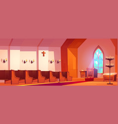 catholic church interior with altar and benches vector image