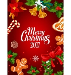 Christmas holly wreath winter holidays poster vector image vector image