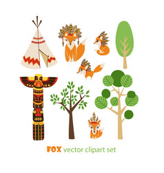 clipart set with foxes in american indian vector image
