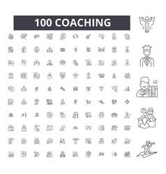 coaching editable line icons 100 set vector image