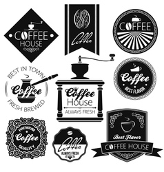 Coffee set labels vector