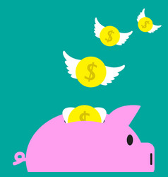 coins flying away from piggy bank vector image