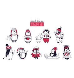 collection of cute penguins wearing different vector image
