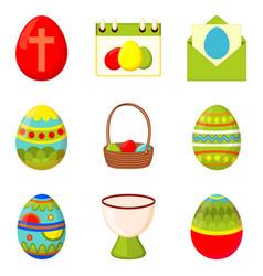 Colorful cartoon 9 easter egg elements set vector