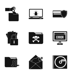 Cracking icons set simple style vector