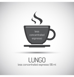 Cup of espresso lungo simple icon vector image