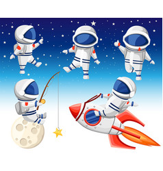 Cute astronaut collection astronaut sits vector