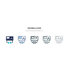Defibrillator icon in different style two vector