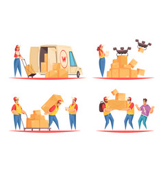 Delivery flat compositions set vector