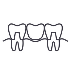 Denture line icon sign on vector