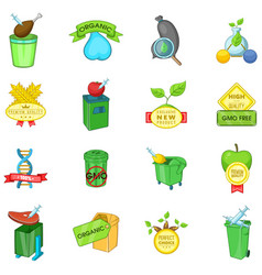 Eco gmo icons set cartoon style vector