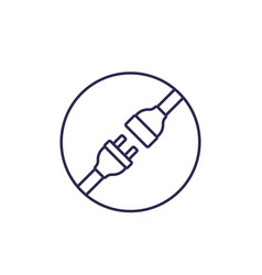Electric plug with power connector line icon vector