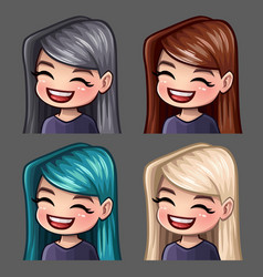 emotion icons smile female vector image
