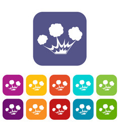 explosion icons set flat vector image