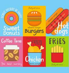 fast food posters collection vector image