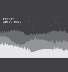 fir forest silhouettes background paper cut vector image