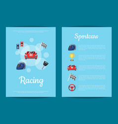 Flat car racing icons card or flyer vector