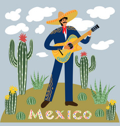 flat cartoon of a mexican man playing guitar in vector image
