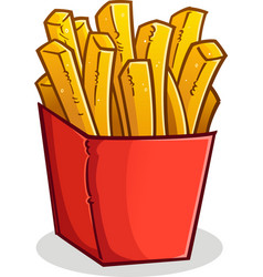 French fries in a box cartoon vector
