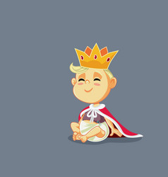 Funny king bawith gold crown and mantle vector