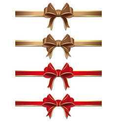 gold and red ribbons with bows collection vector image
