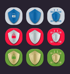 Gray red and green shield icons vector