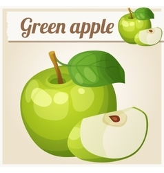 Green apple Cartoon icon Series of food vector