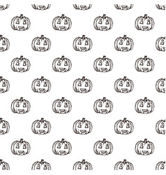 Halloween seamless pattern with hand drawn jack-o vector