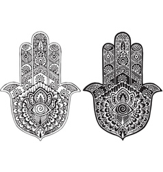 Hamsa painted in the style of mehndi vector image