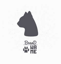 Hand drawn silhouette of cat head vector