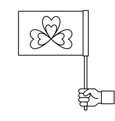 hand holding flag with clover symbol outline vector image