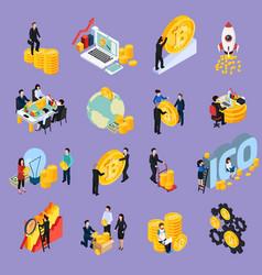 ico blockchain concept isometric icons vector image
