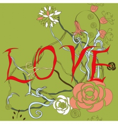 inscription love with floral element vector image