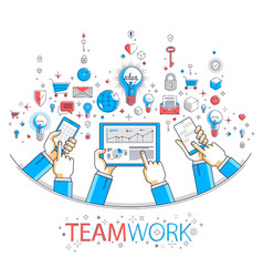 Internet teamwork online team is working and vector