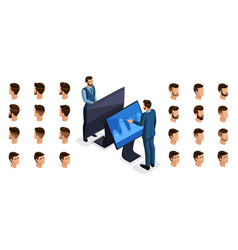 Isometric business man gadgets virtual screen vector