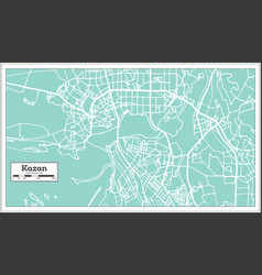 Kazan russia city map in retro style outline map vector