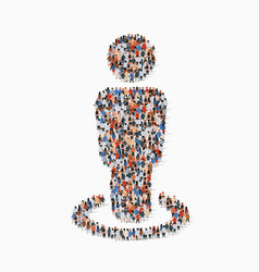 large group people in people sign shape vector image