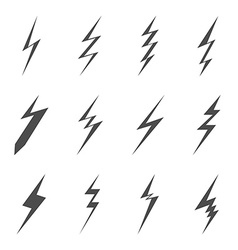 Lightning bolt icons Black flat images on white vector