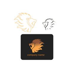 lion head logo color identity design vector image
