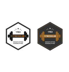 logo template with dumbbell gym emblem label vector image