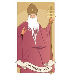 major arcana tarot cards hierophant pope vector image