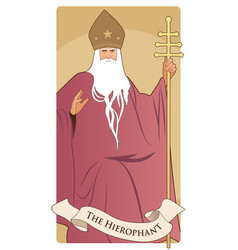 Major arcana tarot cards the hierophant pope with vector
