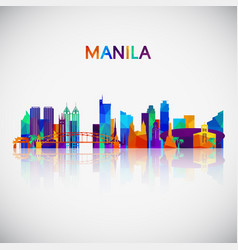 Manila skyline silhouette in colorful geometric vector