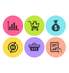 Money bag diagram graph and cross sell icons set vector