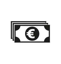 Money icon euro and cash coin currency bank vector