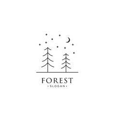 Monoline forest mountain and wave logo icon vector