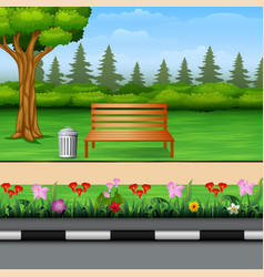 park scenery with bench on town roadside vector image